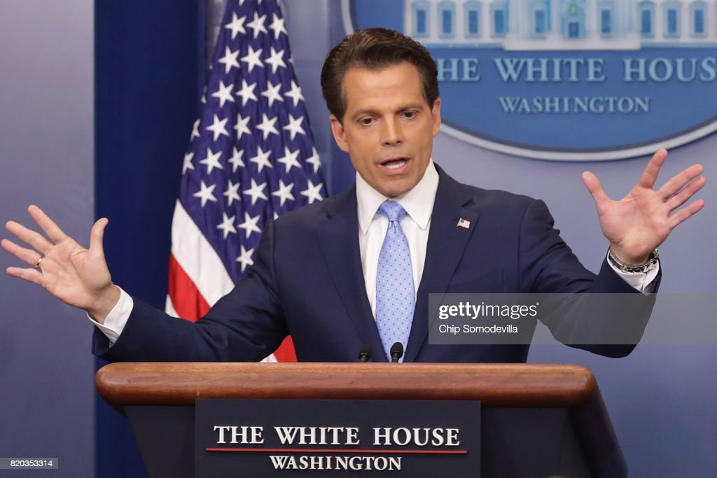 Anthony Scaramucci answers reporters' questions during the daily White House press briefing in the Brady Press Briefing Room at the White House July 21, 2017 in Washington, DC. White House Press Secretary Sean Spicer quit after it was announced that Trump hired Scaramucci, a Wall Street financier and longtime supporter, to the position of White House communications director.