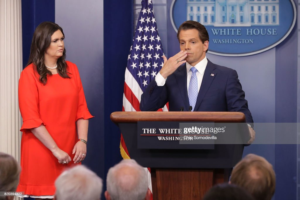 Anthony Scaramucci (R) blows a kiss as he and White House Principal Deputy Press Secretary Sarah Huckabee Sanders (L) conduct the daily White House press briefing in the Brady Press Briefing Room at the White House July 21, 2017 in Washington, DC. Scaramucci announced that Huckabee would replace White House Press Secretary Sean Spicer, who quit after it was announced that Trump hired Scaramucci, a Wall Street financier and longtime supporter, to the position of White House communications director.