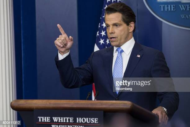 Anthony Scaramucci director of communications for the White House speaks during a White House press briefing in Washington DC US on Friday July 21...