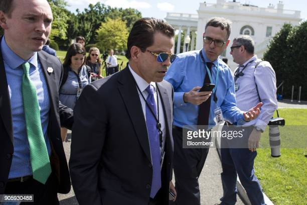 Anthony Scaramucci director of communications for the White House center speaks to members of the media while walking towards the West Wing of the...