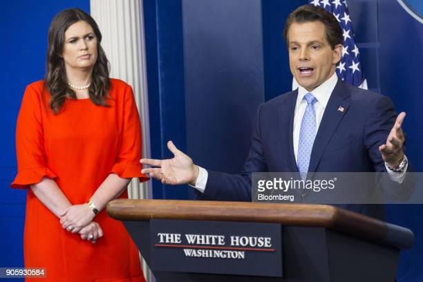 Anthony Scaramucci director of communications for the White House right speaks as Sarah Huckabee Sanders White House press secretarydesignate listens...