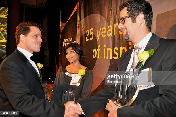 Anthony Scaramucci founder and comanaging partner of SkyBridge Capital from left Shazi Visram founder and chief executive officer of Happy Family...