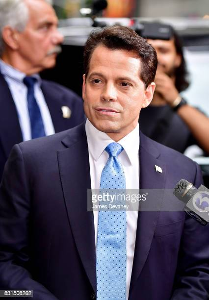 Anthony Scaramucci leaves 'The Late Show With Stephen Colbert' at the Ed Sullivan Theater on August 14 2017 in New York City