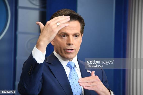 Anthony Scaramucci named Donald Trump's new White House communications director speaks during a press briefing at the White House in Washington DC on...