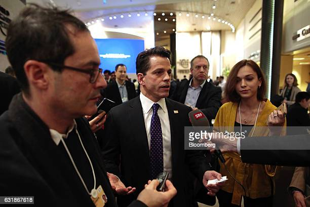 Anthony Scaramucci SkyBridge Capital Founder and aide to US Presidentelect Donald Trump speaks to the media between sessions during the World...