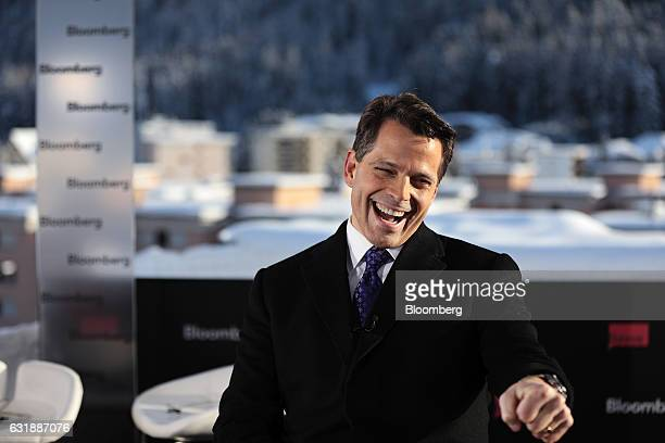 Anthony Scaramucci SkyBridge Capital Founder and aide to US Presidentelect Donald Trump reacts during a Bloomberg Television interview at the World...