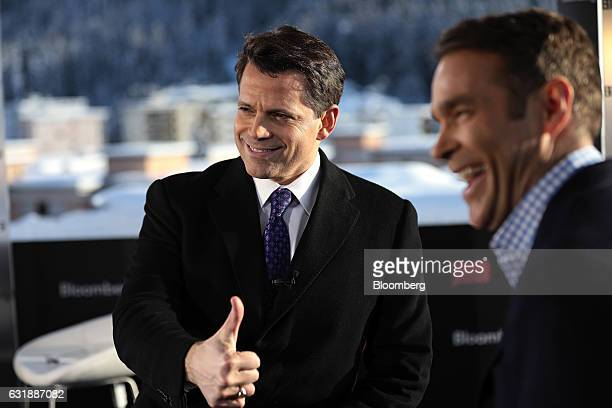 Anthony Scaramucci SkyBridge Capital Founder and aide to US Presidentelect Donald Trump left gestures as he speaks with Eric Schatzker anchor for...
