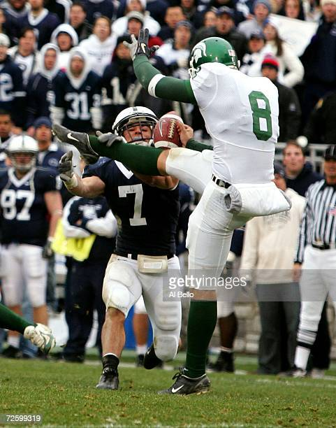 Anthony Scirrotto of Penn State blocks a punt by Brandon Fields of Michigan State during their game at Beaver Stadium November 18 2006 in University...