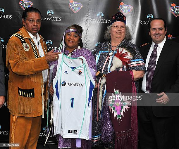 Anthony Sebastian Priscilla Brown Joyce Walker and Rob Victoria pose for photos to promote new partnership between NY Liberty and Foxwoods at Madison...