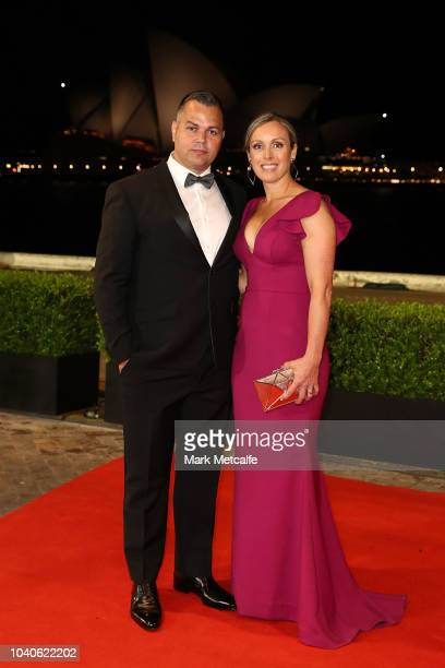 Anthony Seibold with his wife arrive at the 2018 Dally M Awards at Overseas Passenger Terminal on September 26 2018 in Sydney Australia