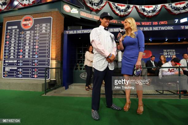 Anthony Seigler who was drafted 23rd overall by the New York Yankees talks to MLB Network host Alexa Datt during the 2018 Major League Baseball Draft...