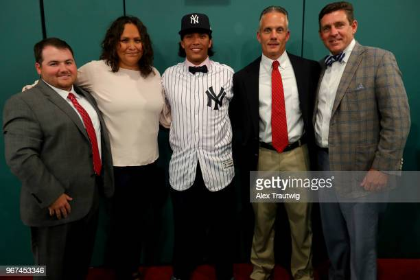 Anthony Seigler who was drafted 23rd overall by the New York Yankees poses for a photo with his family and friends during the 2018 Major League...