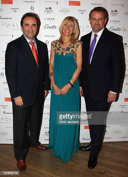 Anthony Sheriff Chief Executive of Walpole Julia Carrick and actor Hugh Bonneville are pictured at the Walpole Awards of Excellence 2011 at...