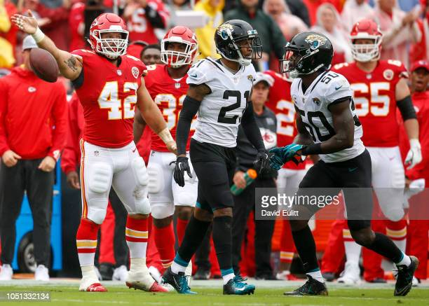 Anthony Sherman fullback with the Kansas City Chiefs signaled first down after catching a first quarter pass past cornerback AJ Bouye cornerback with...