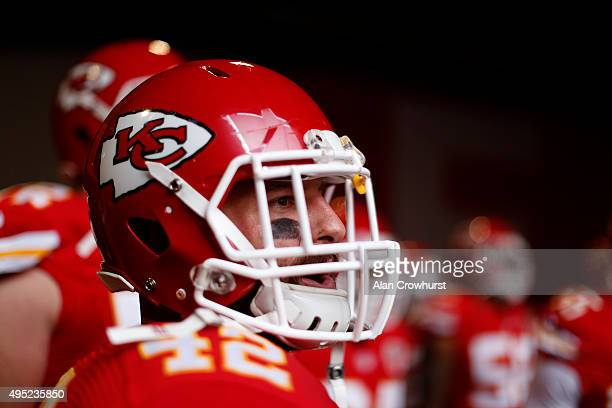 Anthony Sherman of Kansas City Chiefs waits to go on the field during the NFL game between Kansas City Chiefs and Detroit Lions at Wembley Stadium on...