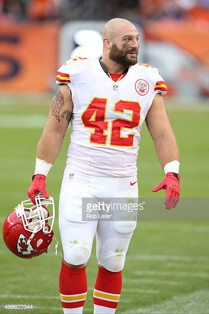 Anthony Sherman of the Kansas City Chiefs looks on during the game against the Denver Broncos at Sports Authority Field At Mile High on November 15...