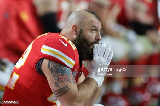 Anthony Sherman of the Kansas City Chiefs looks on from the sideline during the fourth quarter in Super Bowl LIV against the San Francisco 49ers at...