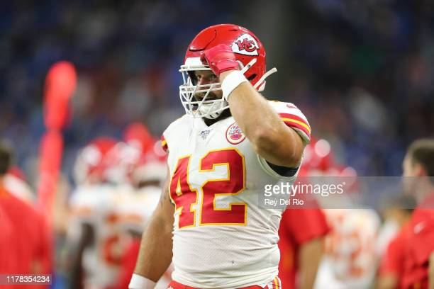 Anthony Sherman of the Kansas City Chiefs looks on from the sidelines during a game against the Detroit Lions at Ford Field on September 29 2019 in...