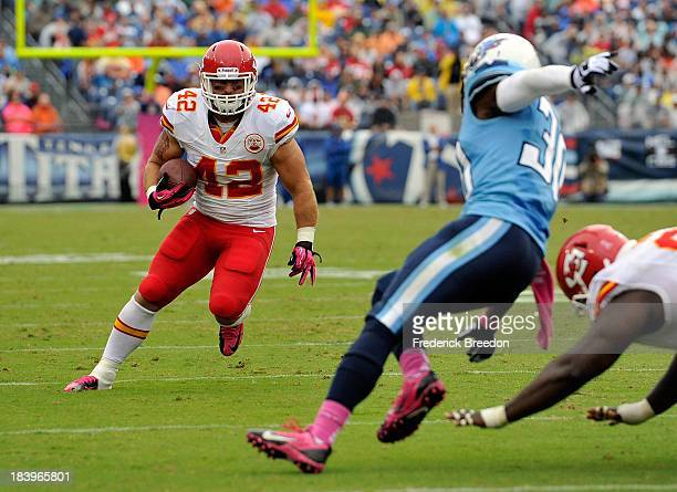 Anthony Sherman of the Kansas City Chiefs plays against the Tennessee Titans at LP Field on October 6 2013 in Nashville Tennessee