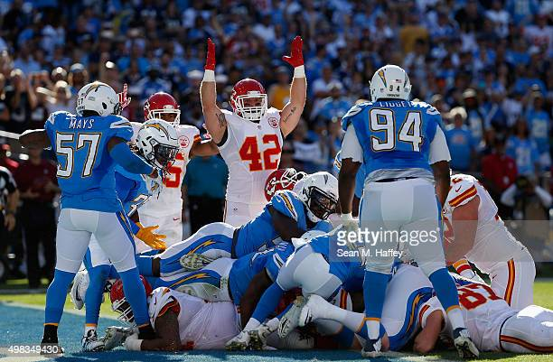 Anthony Sherman of the Kansas City Chiefs reacts to a touchdown during the first half of a game against the San Diego Chargers at Qualcomm Stadium...