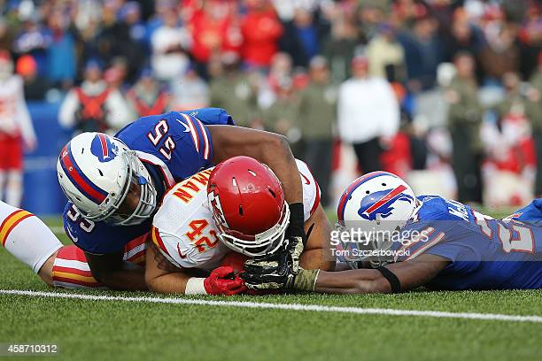 Anthony Sherman of the Kansas City Chiefs recovers a fumble by Leodis McKelvin of the Buffalo Bills during the second half at Ralph Wilson Stadium on...