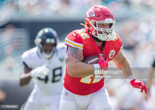 Anthony Sherman of the Kansas City Chiefs runs for yardage during a game against the Jacksonville Jaguars at TIAA Bank Field on September 08 2019 in...