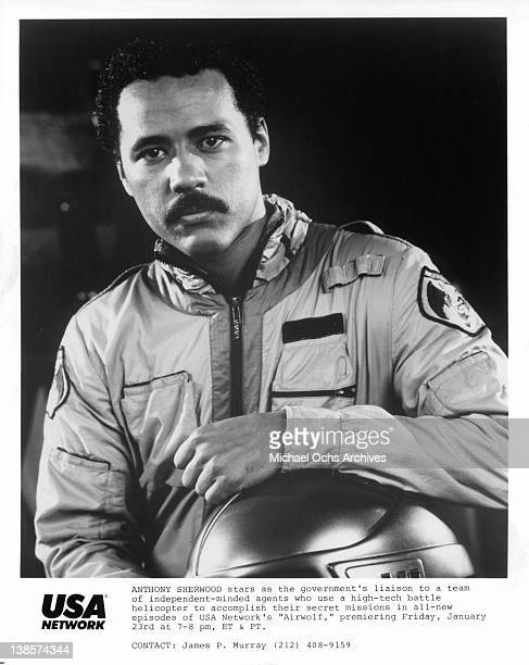 Anthony Sherwood in a publicity portrait from the television series 'Airwolf' 1985
