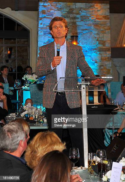 Anthony Shriver addresses the audience at the reception celebrating the Best Buddies Challenge Hearst Castle at the Tehama Golf Club on September 7...