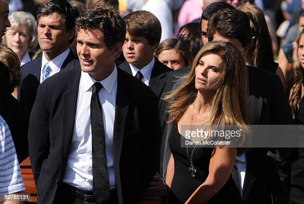 Anthony Shriver and Maria Shriver carry the coffin of their mother Eunice Kennedy Shriver into St. Francis Xavier Church August 14, 2009 in Hyannis,...