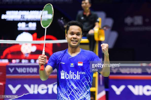 Anthony Sinisuka Ginting of Indonesia celebrates victory after the Men's Singles semi-final match against Anders Antonsen of Denmark on day five of...