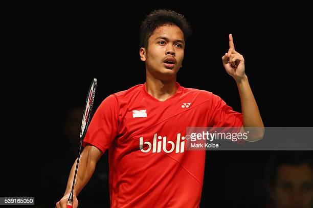 Anthony Sinisuka Ginting of Indonesia celebrates victory in his 2016 Australian Badminton Open quarterfinal match against Chen Long of China at...