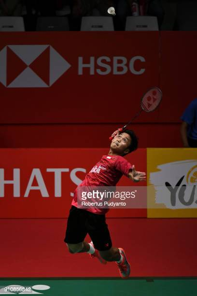 Anthony Sinisuka Ginting of Indonesia competes against Chou Tien Chen of Chinese Taipei during the Men's Singles Semi Finals match of the Daihatsu...