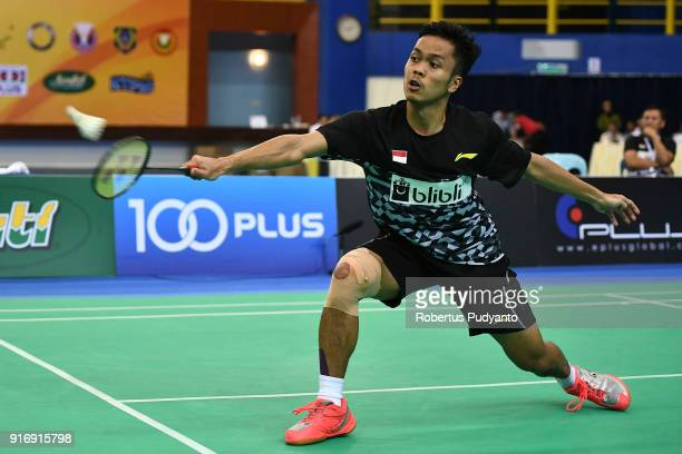 Anthony Sinisuka Ginting of Indonesia competes against Qiao Bin of China during Men's Team Final match between Indonesia and China in the EPlus...