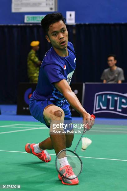 Anthony Sinisuka Ginting of Indonesia competes against Sai Praneeth of India during the E-Plus Badminton Asia Team Championships 2018 at Sultan Abdul...