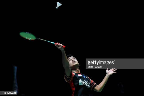 Anthony Sinisuka Ginting of Indonesia competes in the Men's Singles Quarterfinal match against Kento Momota of Japan on day four of the Daihatsu...
