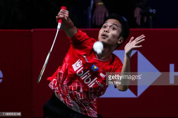 Anthony Sinisuka Ginting of Indonesia competes in the Men's Singles semi finals match against Chen Long of China on day five of the French Open at...