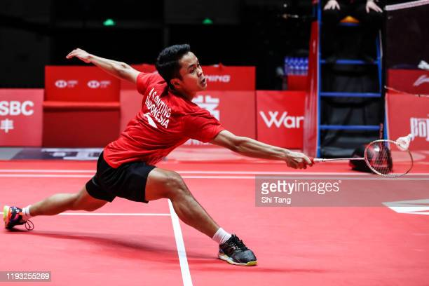 Anthony Sinisuka Ginting of Indonesia competes in the Men's Singles round robin match against Chou Tien Chen of Chinese Taipei during day one of the...