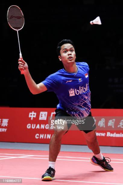 Anthony Sinisuka Ginting of Indonesia competes in the Men's Singles semi finals match against Chen Long of China during day four of the HSBC BWF...