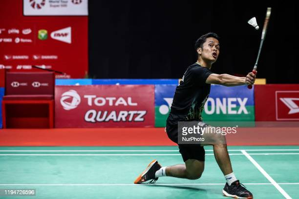 Anthony Sinisuka Ginting of Indonesia competes in the Men's Singles final match against Anders Antonsen of Denmark on day six of the Daihatsu...