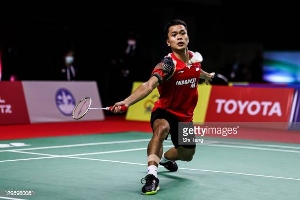 Anthony Sinisuka Ginting of Indonesia competes in the Men's Singles first round match against Heo Kwang Hee of Korea on day one of the Yonex Thailand...