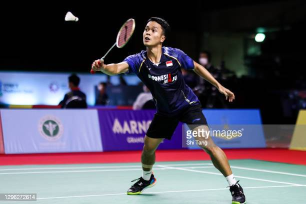 Anthony Sinisuka Ginting of Indonesia competes in the Men's Singles second round match against Kunlavut Vitidsarn of Thailand on day three of the...