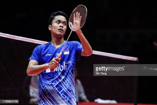 Anthony Sinisuka Ginting of Indonesia greets the audience after the Men's Singles semi finals match against Chen Long of China during day four of the...