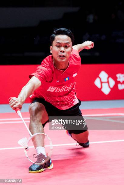 Anthony Sinisuka Ginting of Indonesia in action during the match against Chou Tien Chen of Chinese Taipei on day 1 of the HSBC BWF World Tour Finals...