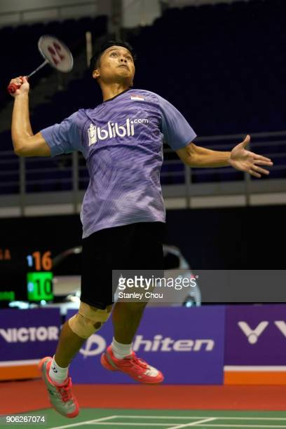 Anthony Sinisuka Ginting of Indonesia plays a return shot to Chen Long of China during the Men Singles round one match of the Perodua Malaysia...