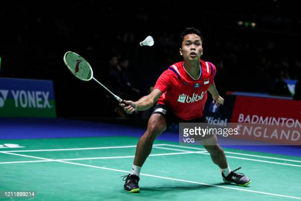 Anthony Sinisuka Ginting of Indonesia reacts during the Men's Single 1st round match against Rasmus Gemke of Denmark on day one of Yonex All England...