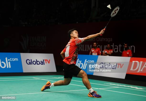 Anthony Sinisuka Ginting of Musica Champions Indonesia competes against Shesar Hiren Rhustavito of PB Djarum Indonesia during the Mens team final...