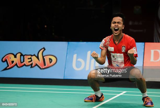 Anthony Sinisuka Ginting of Musica Champions Indonesia reacts after beating Shesar Hiren Rhustavito of PB Djarum Indonesia during the Mens team final...