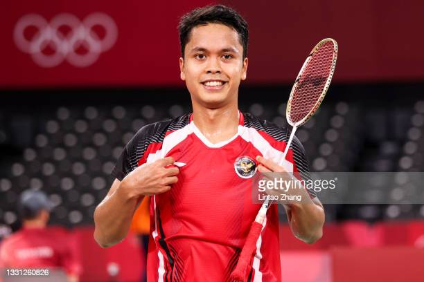Anthony Sinisuka Ginting of Team Indonedia on day six of the Tokyo 2020 Olympic Games at Musashino Forest Sport Plaza on July 29, 2021 in Chofu,...