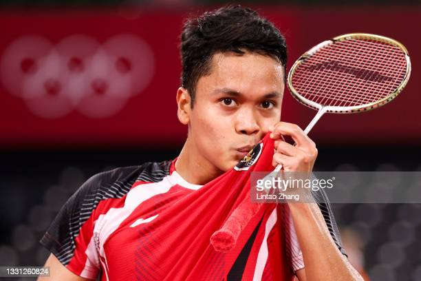 Anthony Sinisuka Ginting of Team Indonesia on day six of the Tokyo 2020 Olympic Games at Musashino Forest Sport Plaza on July 29, 2021 in Chofu,...