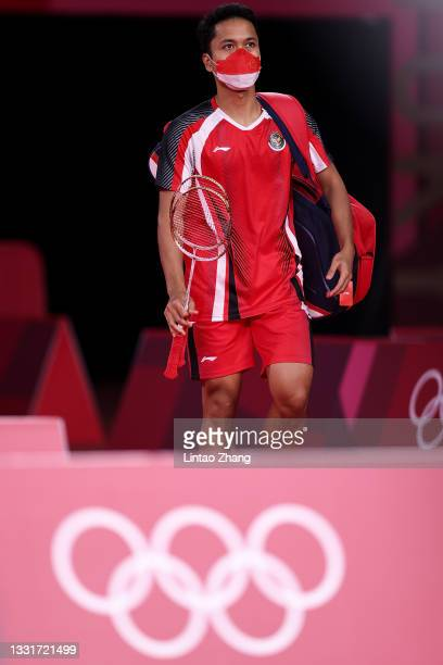 Anthony Sinisuka Ginting of Team Indonesia steps into the court prior to the competition against Chen Long of Team China during a Men's Singles...